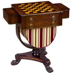 Classical Brass Inlaid Mahogany Worktable with Inlaid Game Board circa 1820-1830
