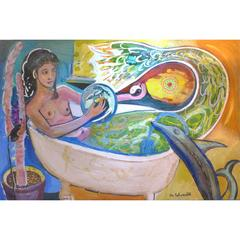 "20th Century Abstract by William Rabinovitch Titled ""Mermaid and Dolphin"""