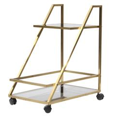 Bar Cart in Golden Brass and Smoked Glass