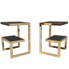 Gold 23 Karat G- Side Tables Maison Jansen, Mid-Century Modern