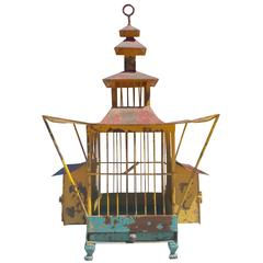 19th Century Japanese Antique Pagoda Shape Birdcage Decorative