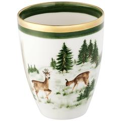 Black Forest German Hands-Free Painted Porcelain Vase with Hunting Scene Sofina