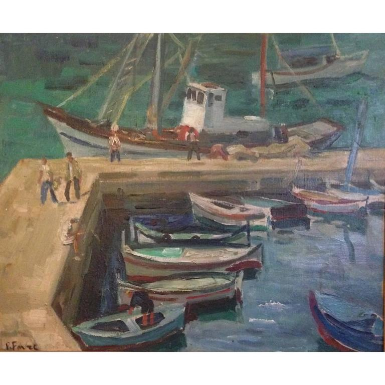 Small French Port Painting by Pierre Favre, 1906-1983