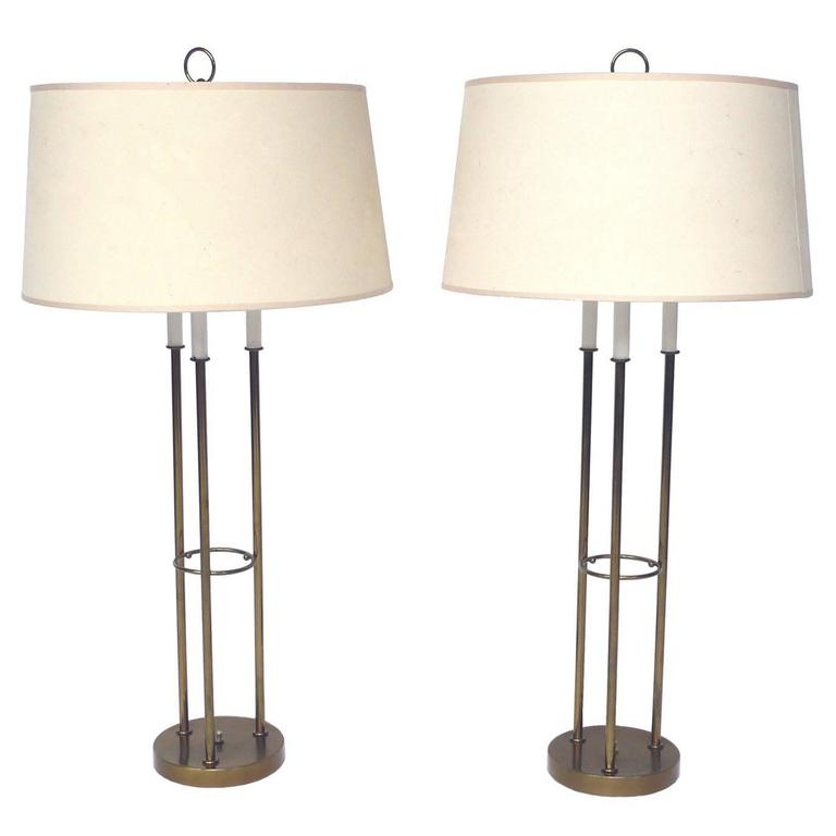 Pair of Midcentury Brass Table Lamps in the Style of Tommi Parzinger