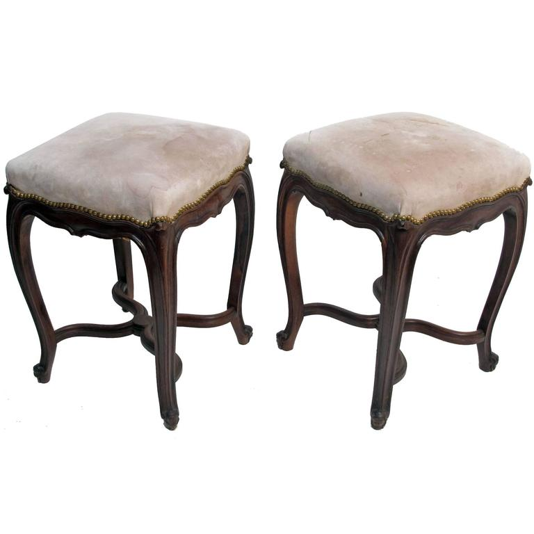 Louis XV Style Rosewood Tabouret Stools, French 19th Century For Sale