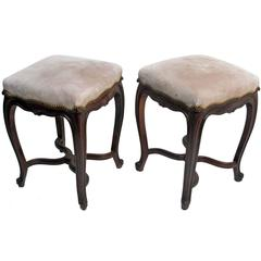 Louis XV Style Rosewood Tabouret Stools, French 19th Century