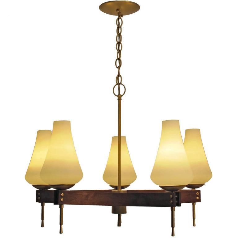 Mid Century Walnut and Brass Five Light Fixture
