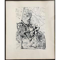 """Salvador Dali Original Lithograph, """"El Cid"""" Framed, 1965"""