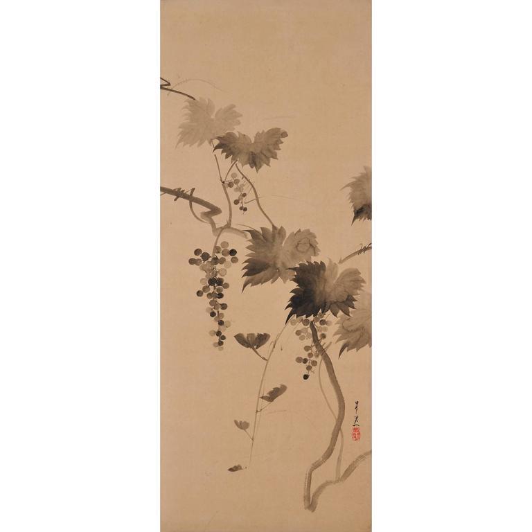 Suzuki Kiitsu, 'Grapevines', Japanese Wall Panel Painting