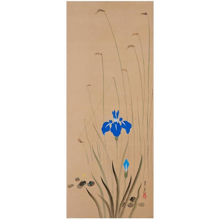 Suzuki Kiitsu, 'Irises' Japanese Wall Panel Painting