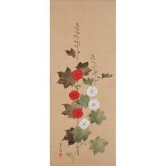 Japanese Painting, Wall Panel, Circa 1850, Hollyhocks by Suzuki Kiitsu