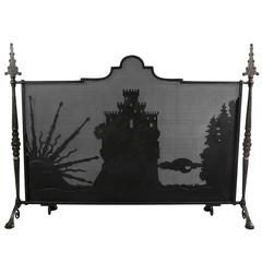 Arts & Crafts Wrought Iron and Bronze Firescreen