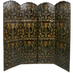 European Embossed Leather Four-Panel Screen