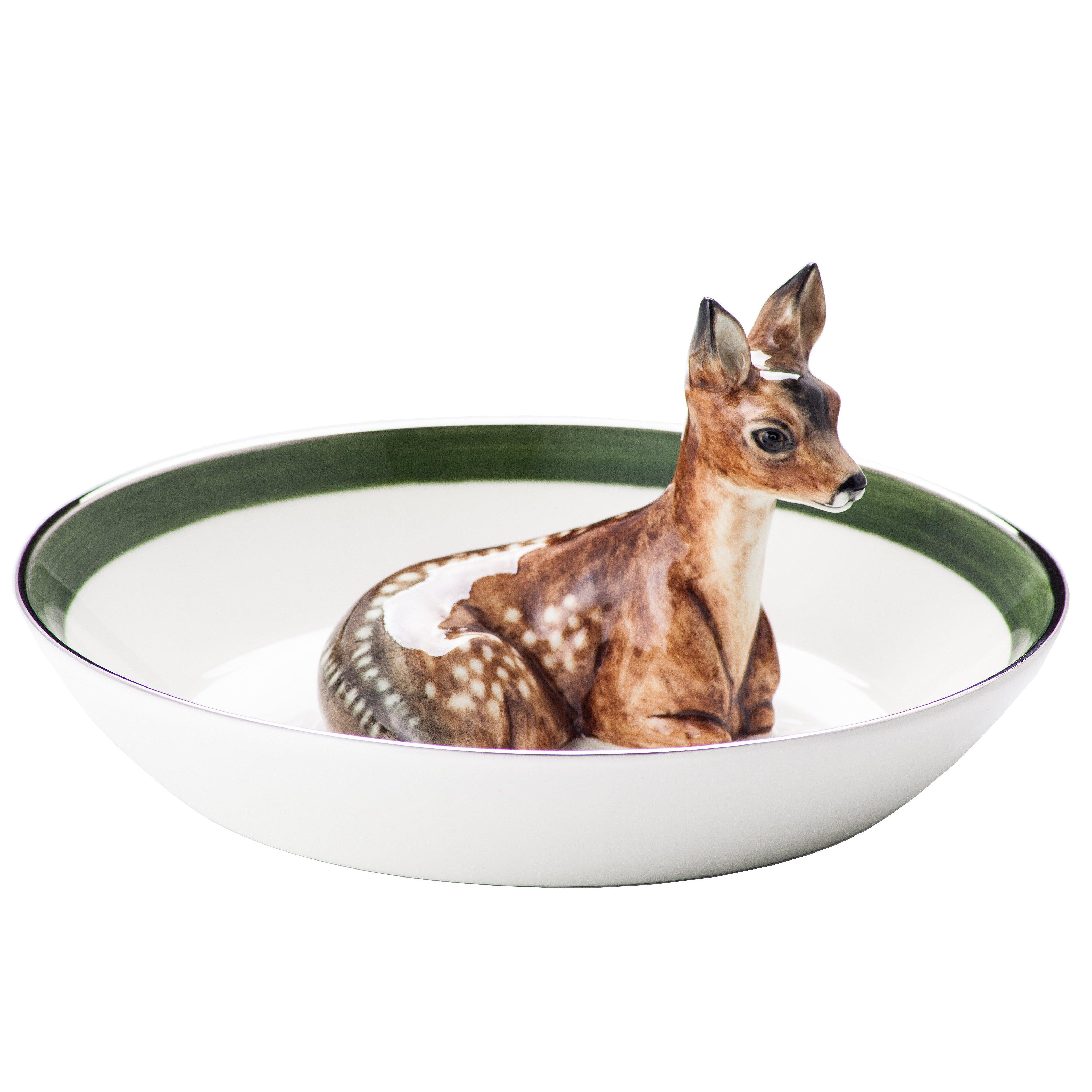 Black Forest  Porcelain  Bowl with Deer Figure Sofina Boutique Kitzbuehel