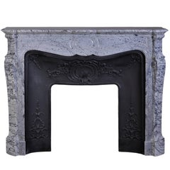 Louis XV Style Pompadour Fireplace in Bleu Fleuri Marble with Cast Iron Insert