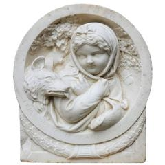 19th Century English Carved Statuary Marble Plaque