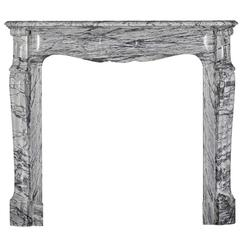 19th Century French Original Pompadour Bleu-Turquin Marble Fireplace