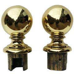 19th Century English Cast Brass Ball Finials