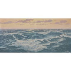 """""""Waves"""" Old French Signed Sea Painting, oil on canvas"""
