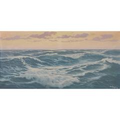 """Waves"" Old Sea French signed Painting oil on canvas"