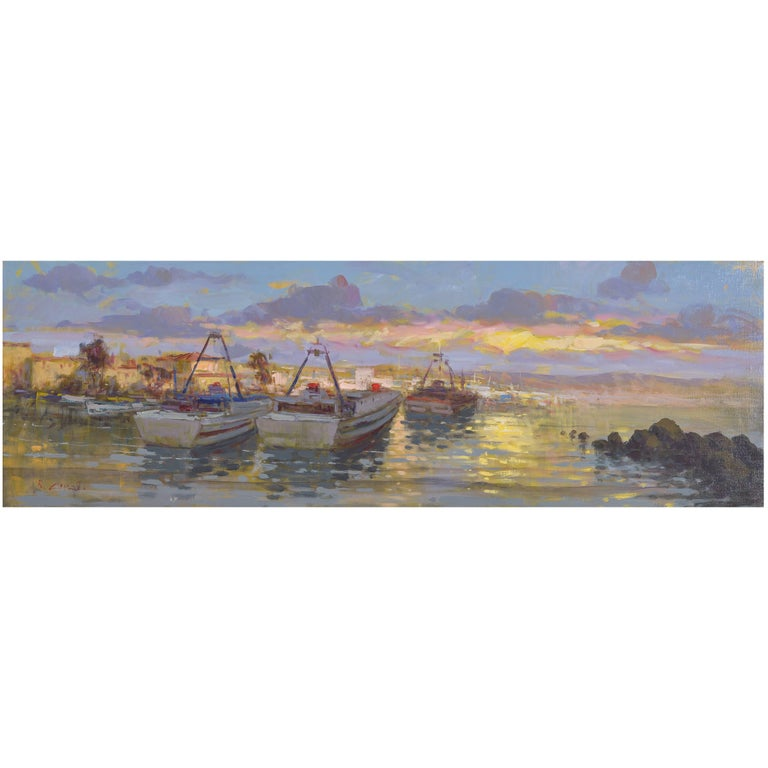 """Italian  Sea  Painting """"Boats at  sunset"""" oil on canvas For Sale"""