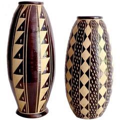 Striking Pair of Incised Brown Ceramic Amphora Vases, 1960s Modernist Design