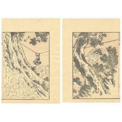 Katsushika Hokusai 19th Century Ukiyo-E Japanese Woodblock Print Manga Landscape