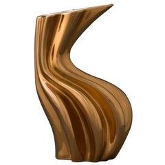 Sinuo Gold by Niccolò Poggi, Handmade Ceramic Vase, Made in Italy