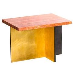 Gilded Cross Table by Carta Bianca, Iranian Travertine Top and Gold Leaf, Italy