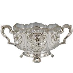 German Art Nouveau silver flower dish with glass liner by A. Strobl, 1900.