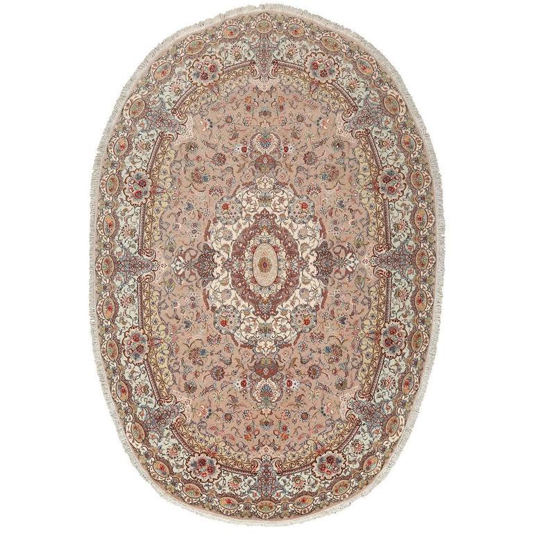 Oval Vintage Tabriz Persian Rug For Sale At 1stdibs