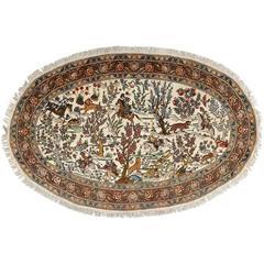 Oval Hunting Scene Vintage Tabriz Persian Rug