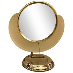 1930s Adjustable Bathroom Standing Shaving Mirror with Light and Frosted Shade