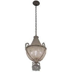 1920s Crystal Basket Chandelier with Beaded Crystals