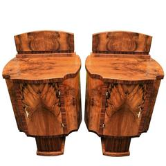 Art Deco Pair of High Style Bedside Cabinet Tables in Walnut
