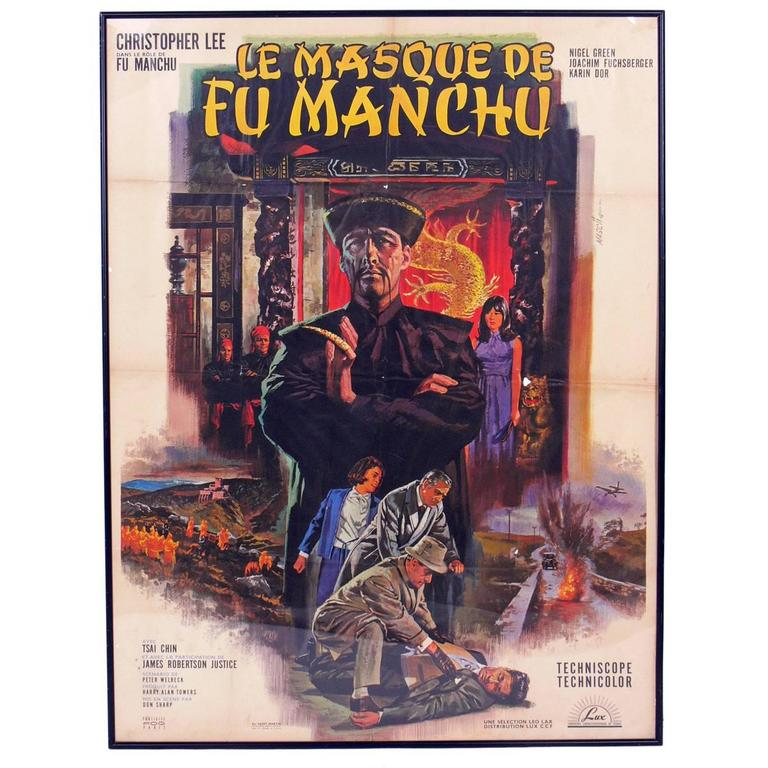 Large-Scale French Mid-Century Movie Poster Le Masque De Fu Manchu