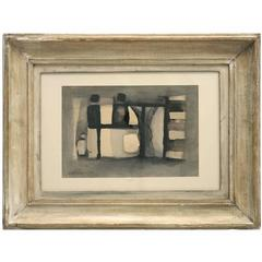 Abstract Watercolor Painting in Wood Frame by Witold K