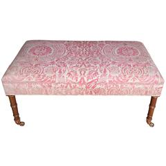 English Regency Style Bamboo Mahogany Bench with Fortuny Fabric