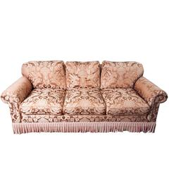 Chocolate Brown Silk Damask Sofa