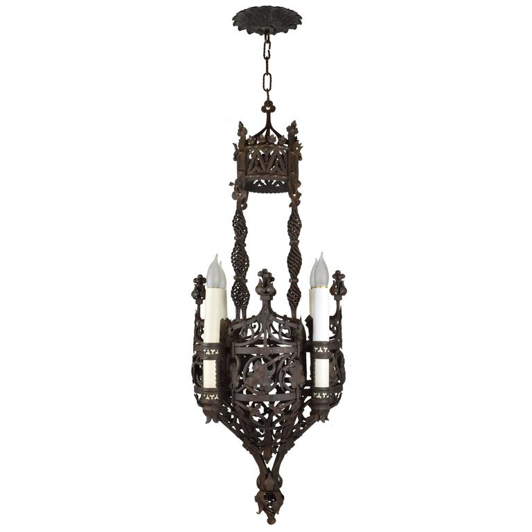 Ornate wrought iron tudor chandelier circa 1915 for sale at 1stdibs - Circa lighting chandeliers ...