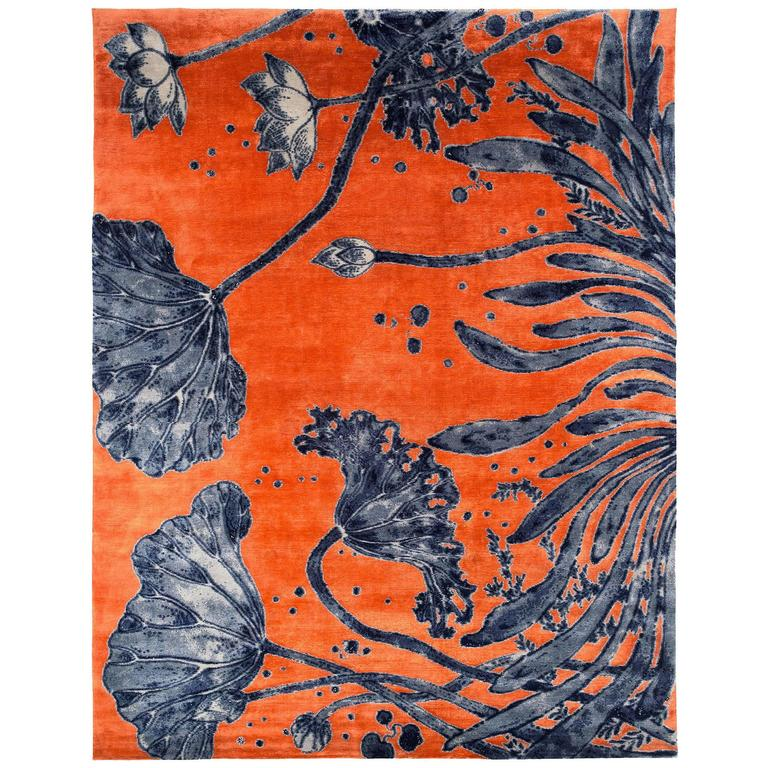 Orange And Indigo 'Water Flowers' Area Rug In Silk And