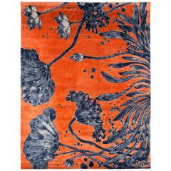 Orange and Indigo 'Water Flowers' Area Rug in Silk and Wool