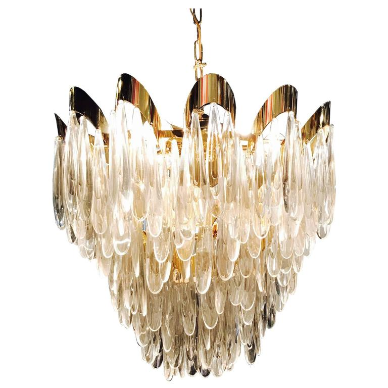 Large Scoilari Nine-Light Chandelier with Brass Accents