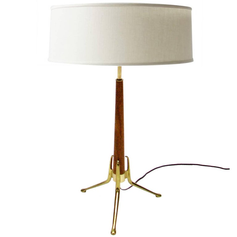 Walnut and Brass Tripod Lamp by Gerald Thurston for Lightolier 1