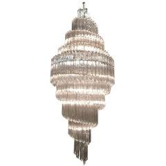 Monumental Spiral Crystal Venini Chandelier