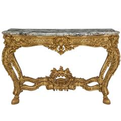 French 18th Century Regence Period Giltwood and Marble Freestanding Console