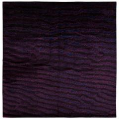 Deep Purple Area Rug with Fish Skin Print
