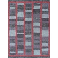 Modern Scandinavian Flat-Weave Design with Geometric Design