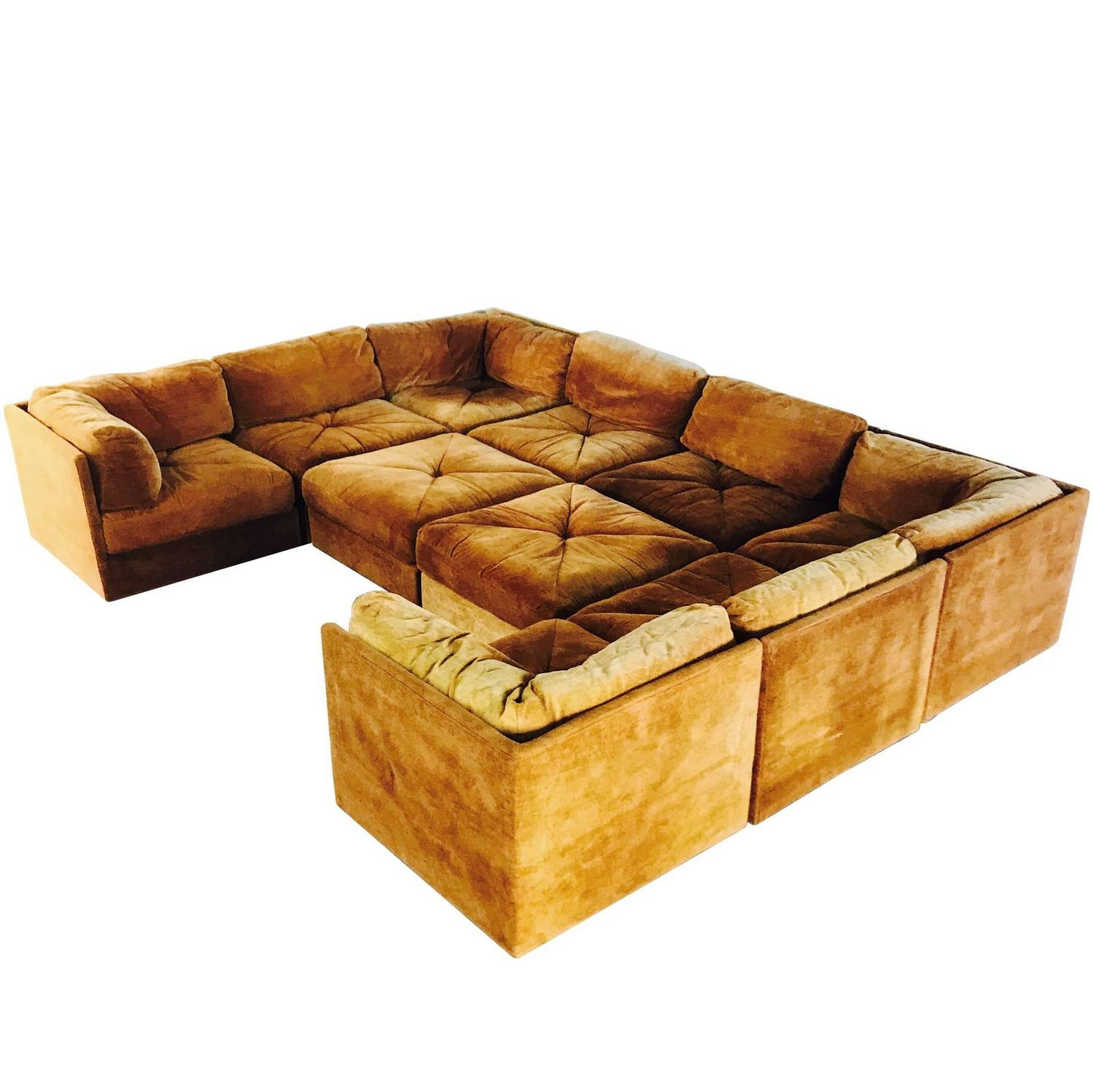 Ten Piece Sectional Sofa Pit in the Style Milo Baughman by Selig