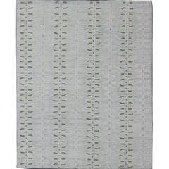 Modern Scandinavian Flat-Weave Design with Leaf Design in Cream, Grey, Green